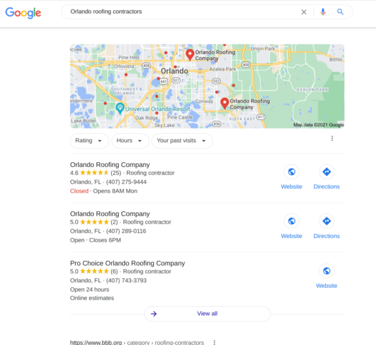 Roofing Contractors Google Maps Listings