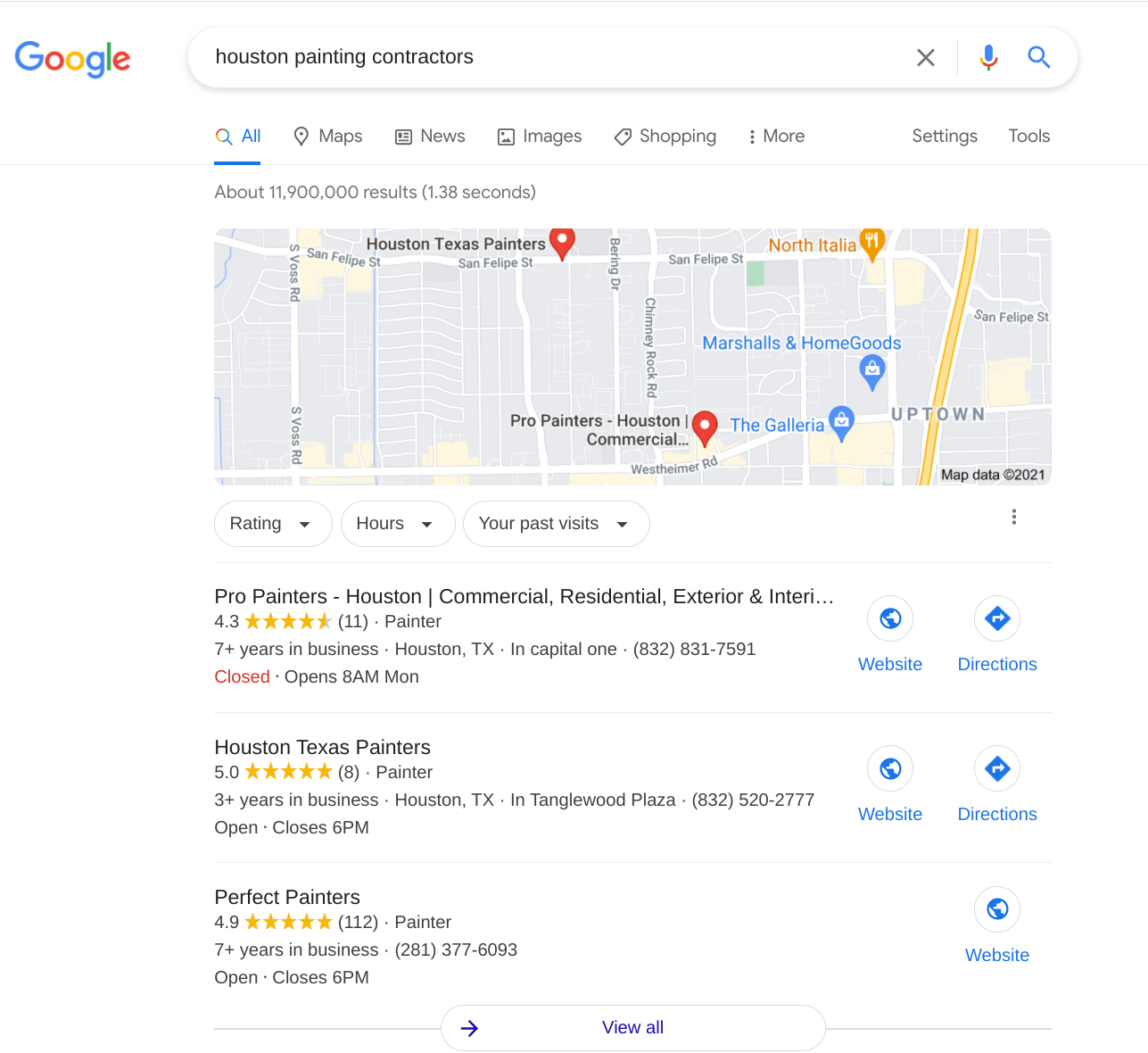 painting contractors google maps listing