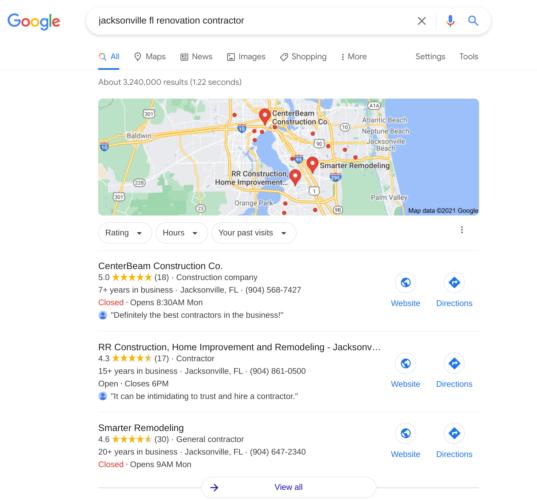Renovation Contractor Google Maps Listing